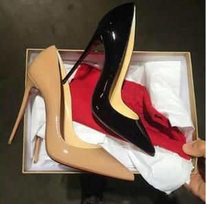 무료 배송, 고품질의 세련되고 고급스러운 숙녀의 빨간 밑창 하이힐, 특허 가죽 파티 결혼식 신발 원래 상자 34-43