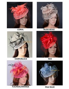 NEW DESIGN High quality elegant sinamay fascinator feather headpiece Royal wedding hat with veiling for Kentucky Derby church party