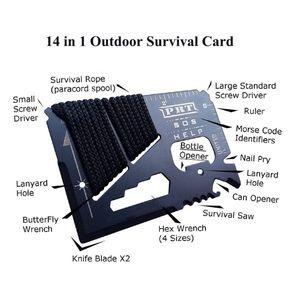 14 Em 1 Card Multitool crédito Mini Carteira SOS Survival faca de aço inoxidável Multi funcional Outdoor Camping Ninja Resgate ferramenta de bolso