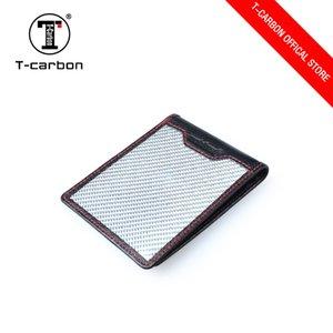 cuoio fibra di carbonio argento supporto di carta del raccoglitore T-CARBON