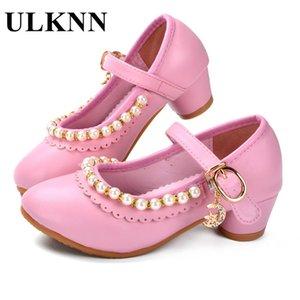 ULKNN Kinderschuhe Mädchen Sandalen Ruffles Pink Weiß Fille Schuhe Perlen aus weichem Leder Weibliche Sandale Kinder Prinzessin-Kleid-Schuhe CX200629