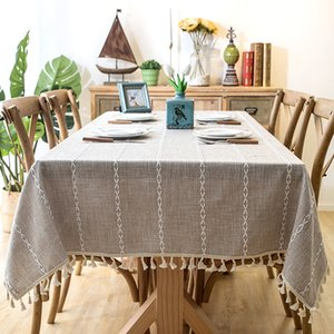 ROMANZO Thick Yarn-Dyed Linen Fabric Blue Gray Strip Tassel Tablecloth Hotel Christmas Decoration Cloth for Coffee Bar Table T200107
