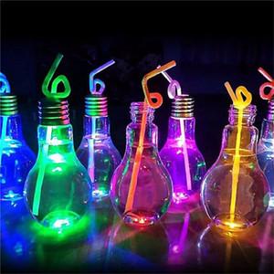 Ampoule en plastique Bouteille d'eau jus lumineux ampoule de lait portable antifuite boissons ampoule bouteille Coupe du mariage de fête d'anniversaire de jus