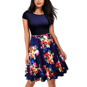 Plus Size 3XL Summer Dress Women 2020 Kleding Vrouwen Vintage Elegant Cap Sleeve Lemon Flower Print Fashion Dresses Kerst Jurk