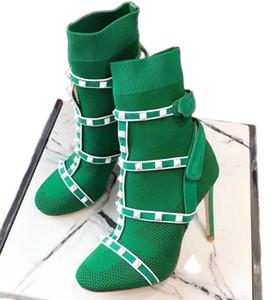Женские ботильоны с гвоздиками Ботинки Дизайнерская обувь Кожаная отделка из эластичного трикотажа Носки на высоком каблуке Австралия Зимние ботинки с коробкой