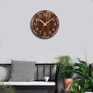 Hot Luminous Wall Clock 12 Inch Wooden Silent Non-Ticking Kitchen Wall Clocks With Night Lights For Indoor Outdoor Living Room 201202