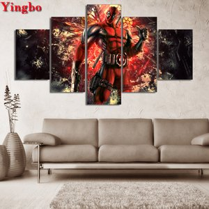 5 Panel 5D Diy Diamond Painting Movie Deadpool 2 Diamond Picture mosaic Cross Stitch 3D Rhinestone Embroidery Wall Sticker Decor