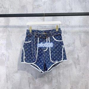 2020 high-end denim mulheres menina calças de brim shorts letra do monograma colorblock imprimir uma linha de mini-calças desfile de moda design de luxo para calças