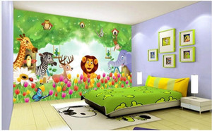 WDBH personalizzato foto 3d carta da parati Animal Kingdom svegli dei bambini di Cartoon Room Decor murales 3d carta da parati per le pareti 3 d