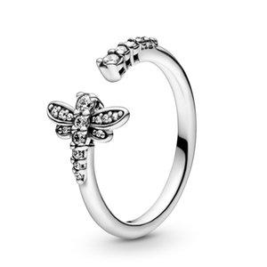 Véritable argent 925 Sparkling Dragonfly ouvert Bague 2020 nouveaux bijoux de design de luxe Bague de fiançailles pour les femmes avec Pandora Box originale
