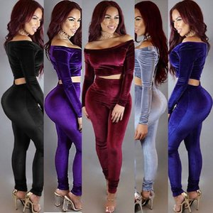Long Sleeves Strapless Tops Pencil Pants Sets Velvet Tracksuits Two Piece Suit Trousers Leisure Clothing Women Winter Apparel 36 1zm H1