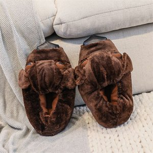 Hot Sale-Unisex Women Men Slippers Lovely Dog Animal Prints Solid Flat Indoor Shoes Winter Plush Warm Home Slippers Size 35-44