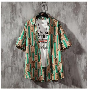 Été Chemises homme Designer Shorts de planche à roulettes Lapel Neck Shirt Hommes Hawaii Beach Blouses Mens rayé en vrac