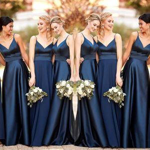 azul simples New Marinha dama de honra vestidos longos 2020 A-Line Satin cintas de espaguete vestido grupo Wedding Party Dress For dama de honra