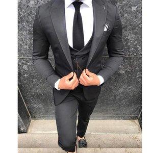 Custom-made Peak Lapel Groomsmen One Button Groom Tuxedos Men Suits Wedding Prom Dinner Best Man Blazer(Jacket+Pants+Tie+Vest) W76