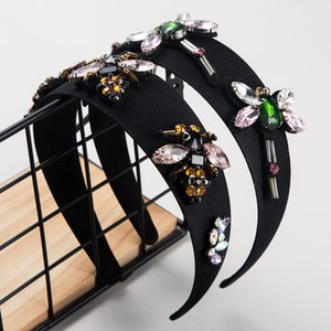 fascia per capelli barocca in tessuto colore femminile intarsiato di strass ape Dragonfly fascia passerella copricapo