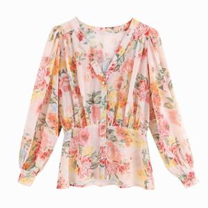 أنيقة المرأة الشيفون بلوزة وقميص صيف 2019 موضة جديدة يطبع الأزهار الشيفون الخامس الرقبة feminino Blusa أنثى قمم واقية من الشمس