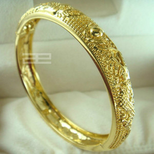 24ct yellow gold filled GF Chinese carving Wedding open Bangle bracelet 10mm band width 58mm diameter G99