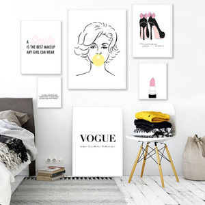 Pink Lipstick Woman High Heels Fashion Poster Inspirational Print Canvas Art Painting Wall Picture Modern Girl Room Home Decor