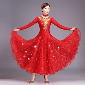 Women Standard Ballroom Dance Dresses Adult 2019 New Design Long Sleeve Sparkling Ballroom Competition Dancing Dress