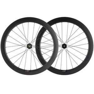 / QR 꼬치 스루 700C 55mm 깊이 25mm 폭 카본 휠 세트 3K 매트 클린 처 디스크 브레이크 도로 자전거 자전거 바퀴 차축