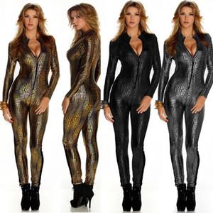 Las nuevas mujeres de la serpiente atractiva del metal de la piel de imitación de cuero de la cremallera Fornt vendaje de Bodycon del mono del mono de Catsuit general de oro Negro
