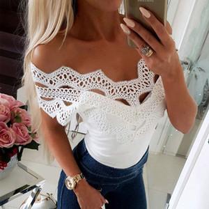 Fanbety Sexy с плеча выдалбливают Блузы Рубашка лета женщин шнурка Твердая Slim Fit Блуза Slash образным вырезом с коротким рукавом Blusa Tops