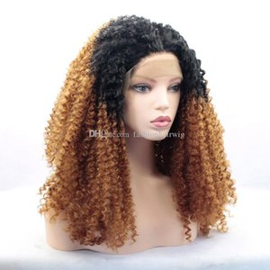 Long Afro Kinky Curly Blonde Ombre Glueless Lace Front Wigs 2 Tone Color Black Roots Synthetic Hair Wigs for Black Women 1BT30#