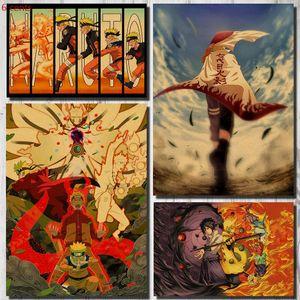 나루토 애니메이션 포스터 장식 스티커 크래프트 종이 포스터 벽 스티커 복고풍 벽 그림 복고풍