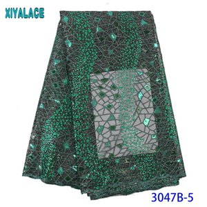 Green African Lace Fabrics 2020 High Quality Organza Lace Nigerian Tulle Fabric French Net with Sequins KS3047B