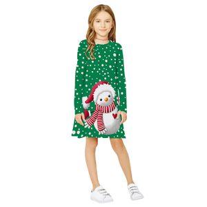 Bonhomme de neige de Noël d'impression numérique filles Robe manches longues col rond Europe et en Amérique Mode Enfants Wear gros