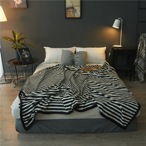 New hot Black white stripe blanket 150 180 200CM Flannel Luxury Warm Soft Blankets Smooth Flannel Blankets Baby Beddings Swaddling Blanket