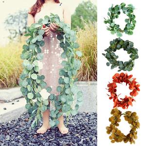 1pc Yapay Vine Bitki Asma Okaliptüs Yapraklar Rattan Düğün Dekor Yapay Bitki Vine Sanat Salonu Bahçe Dekorasyonu Ev