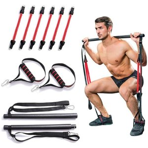 Portable Home Gym Pilates Bar System Full Body Leg Stretch Strap Workout Equipment Training Yoga Kit Fitness Resistance Bands#A