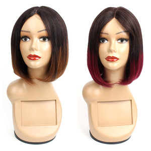 KISSHAIR средняя часть Short Bob человеческих волос Парики бразильских волос Ombre Цвет 1B30 Бургундия 99J прямые волосы монолитным парики