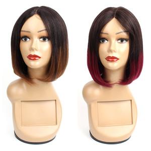 KISSHAIR parte media Corto Bob pelucas del pelo humano del pelo brasileño Ombre color 1B30 Borgoña 99j pelucas de pelo recto sin tapa