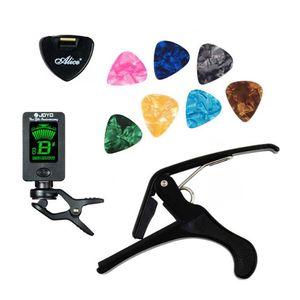 Tool Kit Guitar Tuner + Capo + Plectrum Holder + 7 Picks Celluloid sintonia Capotraste mediatore Caso Guitarra ricambio Accessori vendita calda