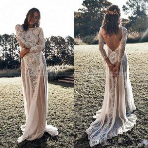 2020 Новый год сбора винограда шнурка Backless Boho пляж свадебные платья с длинным рукавом Nude Подкладка Страна Bohemian Свадебные платья Хиппи Цыганская платье невесты