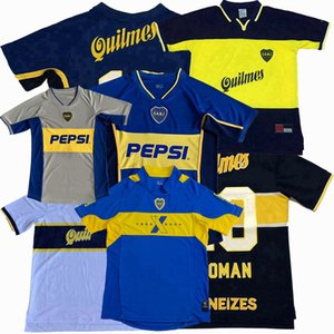 Retro clásico 1995 1996 1997 1998 1999 2000 2001 2002 2003 2005 Boca Juniors fútbol jerseys ROMANO MARADONA limita camiseta de fútbol retro
