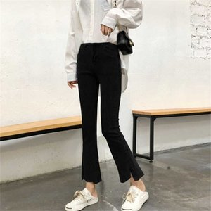 Autumn 2020 new Korean version of vintage made old jeans high-waisted slim mini flared trousers nine points pants woman