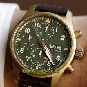 luchador ZF Top versión piloto del Spitfire de casos Bronze Series 387902 luminosos Dial del reloj para hombre Relojes Cronómetro ETA A7750 cronógrafo mecánico