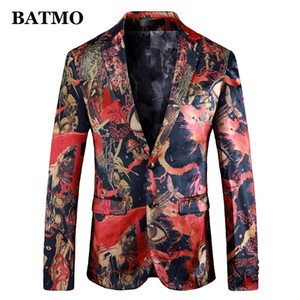 Batmo 2019 new arrival high quality printed casual blazers men,men's casual suits,printed men's jackets plus-size 912