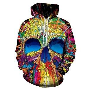 Стильный 3D череп печати толстовка спортивный костюм толстовки мужчины унисекс повседневная толстовка пальто верхняя одежда пуловер Slim Fit топы