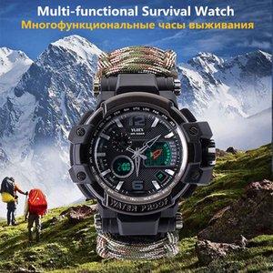 Открытый выживания Часы Многофункциональный водонепроницаемый Тактический часы браслет Отдых Туризм Emergency передач EDC