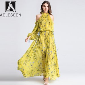AELESEEN Runway Yellow Dress Elegant 2019 Summer Off Shoulder Halter Lantern Sleeve Bow Floral Print Pleated Long Dress