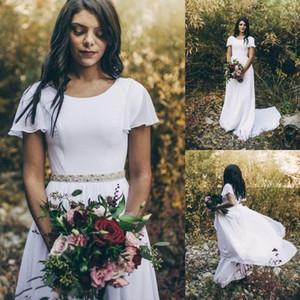 Semplice di A-line del 2020 cristalli a buon mercato Abiti da sposa con maniche Flutter scollo cinghia staccabile Boho Abiti da sposa