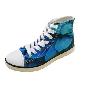 WHEREISART Männer Frauen hohe Spitzensegeltuch flache beiläufige Art und Weise Turnschuh laufende Schuhe Lace up Blau