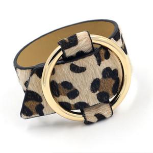 Anillo de metal ajustable Pulsera Estampado de leopardo Horse Hair PU Pulsera de cuero artificial Pulsera ancha de moda