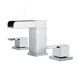 Matt Black Chrome Waterfall Tap Bathroom Basin Faucet Hot And Cold Mixer Faucet Deck Mounted Dual Holder Three Hole