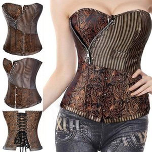 Miss Moly Brown Sexy Corsets and bustiers Steampunk Corset Top Waist Tummyr Gothic Clothing Corselet Brocade Zip Patchwork S-2XL MX200506